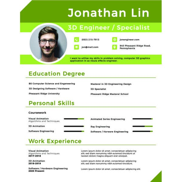 engineering student fresher resume