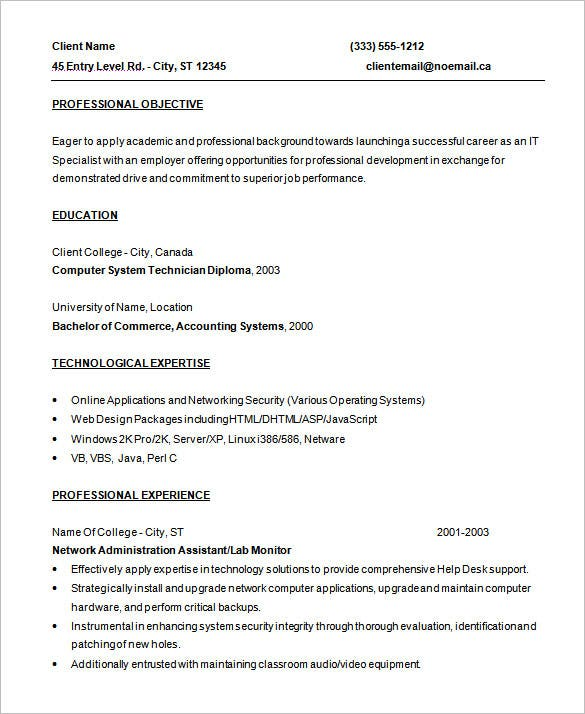 entry level programmer resume template free download - Programmer Resume Example