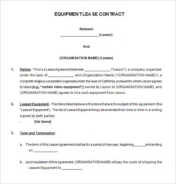 equipment lease contract template free download