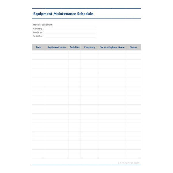 equipment-maintenance-schedule-template
