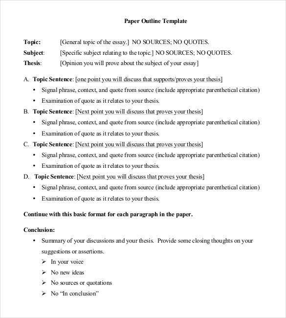 essay paper outline template