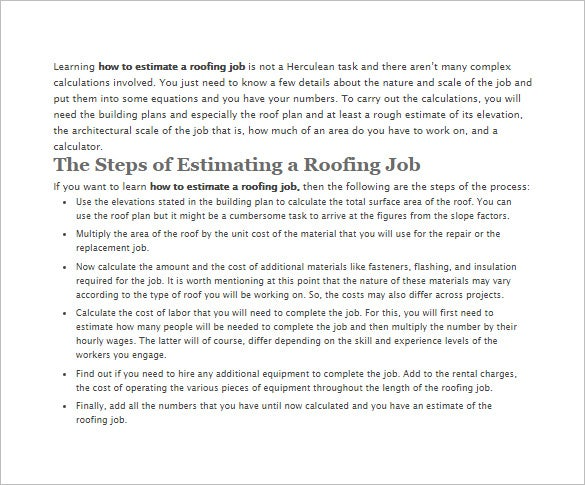 Roofing Estimate Template   Free Word Excel  Pdf Documents