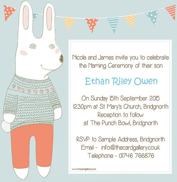 Elegant Ethane Naming Ceremony Invitation Template