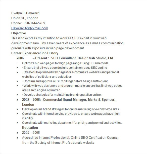 evelyn hayward seo resume