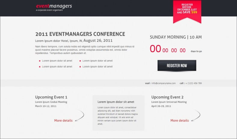 Event Managers Landing Page Template