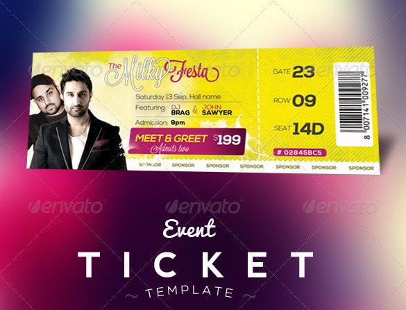 Ticket Template 91 Free Word Excel PDF PSD EPS Formats – Sample Ticket Template