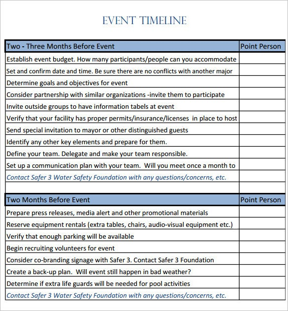 9 Event Timeline Templates Free Sample Example Format – Sample Event Checklist Template