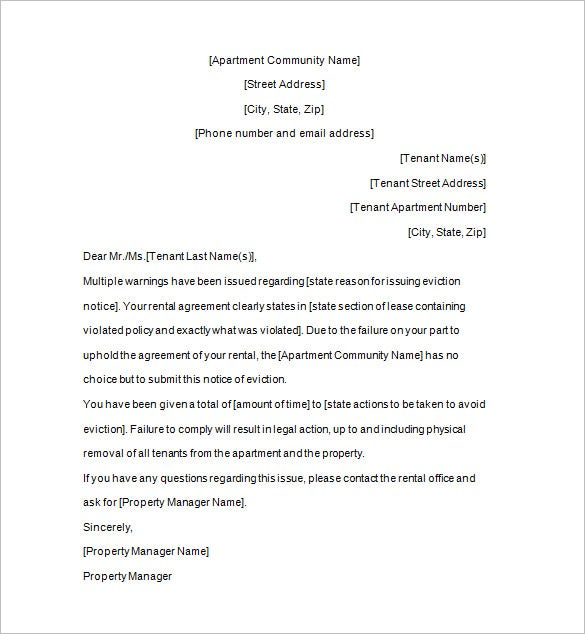Notice Template 111 Free Word PDF Format Download – Eviction Letter Template Uk