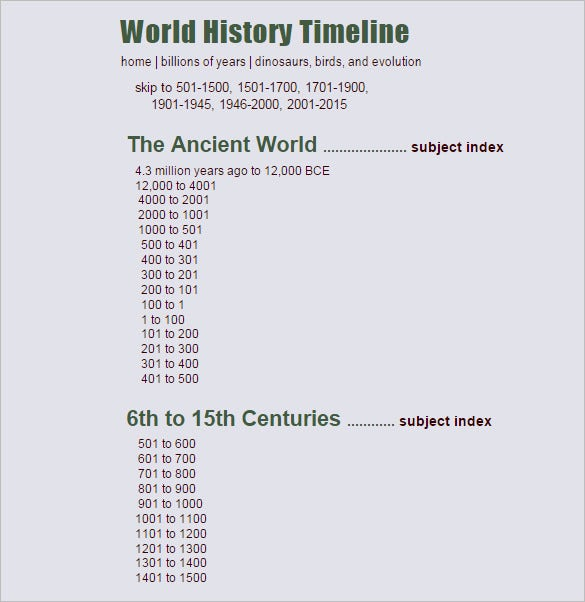10 historical timeline templates free sample example format evolution world history timeline template sample toneelgroepblik Gallery