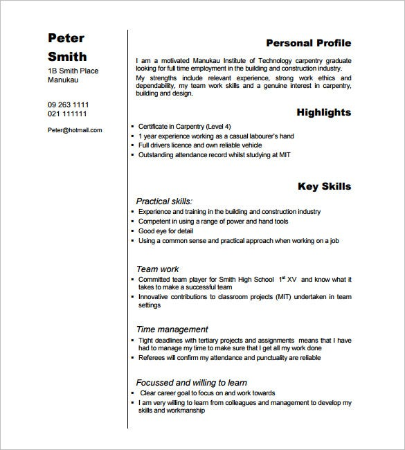 Example Carpenter Resume  Work Skills Resume