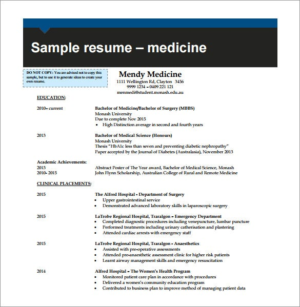 example combination resume pdf template for medicine