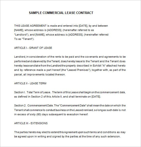 Example Commercial Lease Contract Template Free Download  Lease Contract Format