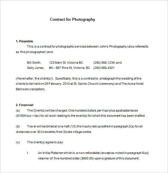 example commercial photography contract free download