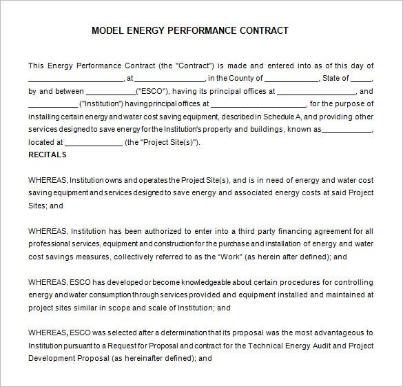 example energy performance contract free download