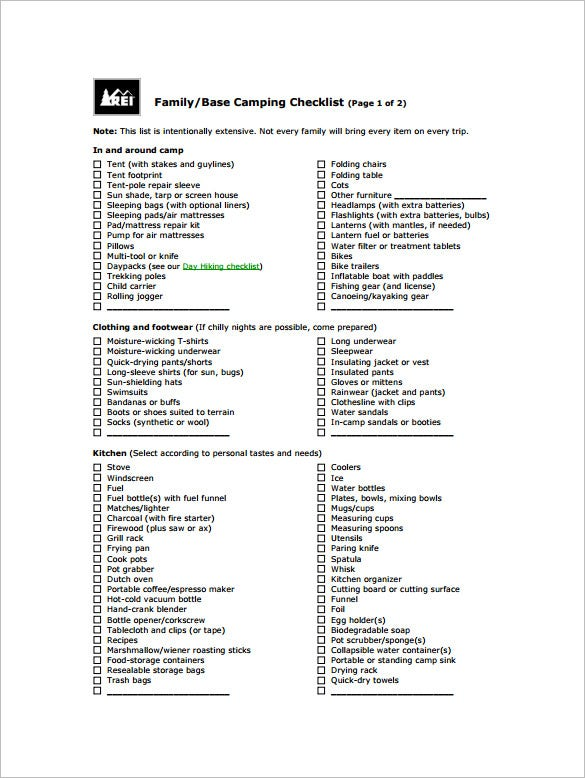 example family camping checklist pdf format download
