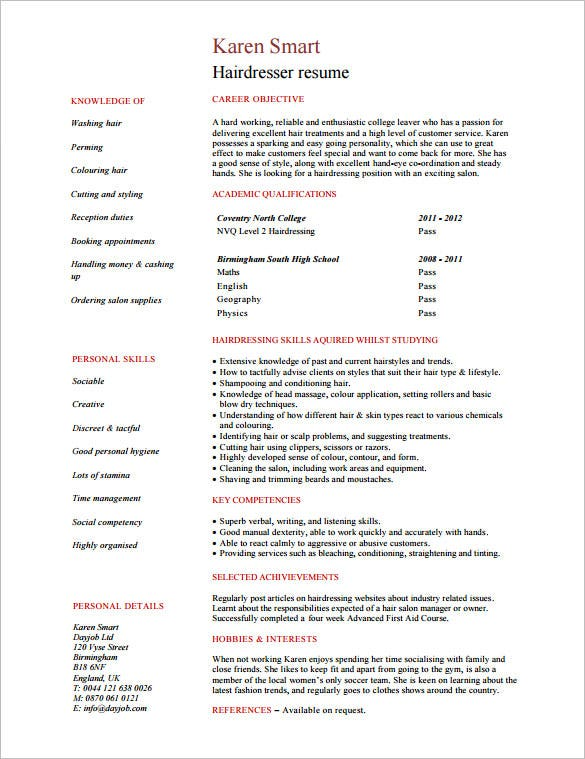 example hairdresser skills resume pdf format - Hairstylist Resume Template
