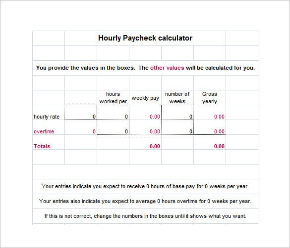 8 hourly paycheck calculator doc excel pdf free for Salary history template hourly