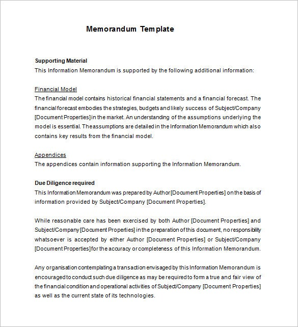 example information memorandum template download
