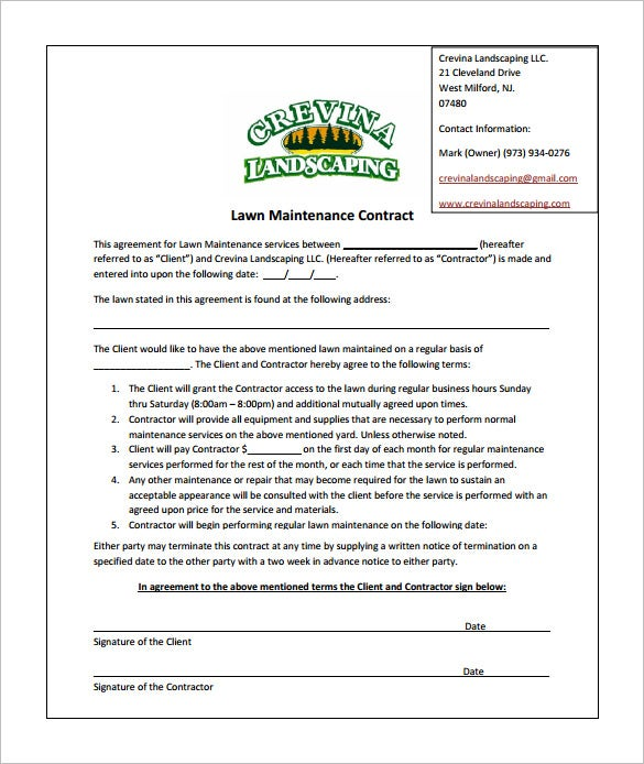 9 lawn service contract templates free word pdf for Monthly service contract template