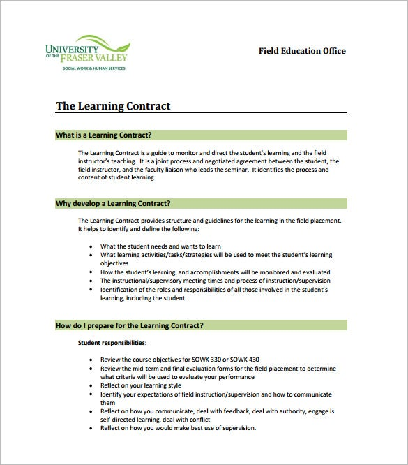 Learning Contract Templates  Free Word Pdf Documents Download