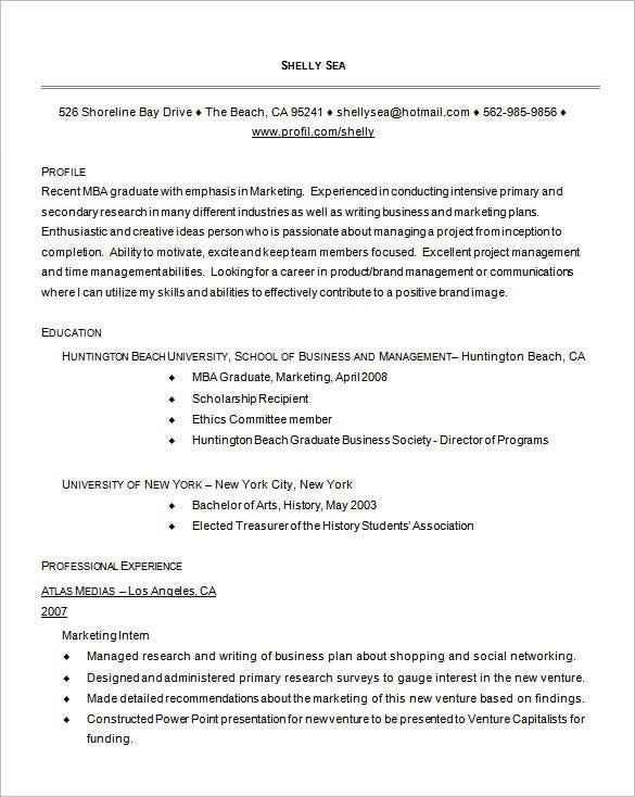 Example MBA Graduate Resume Free Download  Mba Resume Template