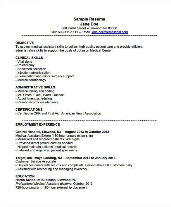 Example Medical Assistant Resume With Externship  Medical Assistant Resume Template Free