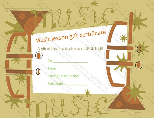 example music gift certificate template download