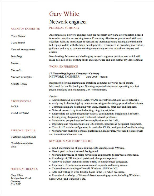 High Quality Example Network Engineer Resume For Fresher PDF Format Images