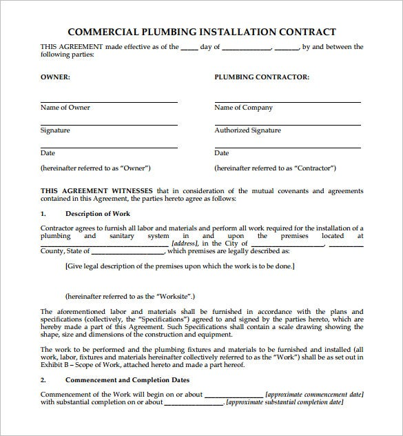 9 Plumbing Contract Templates Free Word Pdf Format