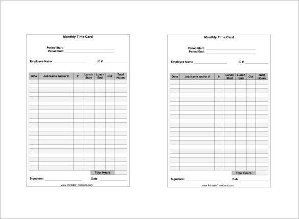 8 Printable Time Card Templates Free Word Excel and PDF Format – Time Card Template Free