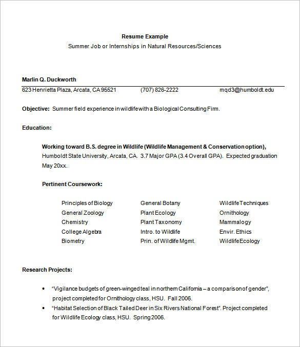 internship resume template 11 free samples examplespsd - Sample Wildlife Biologist Resume