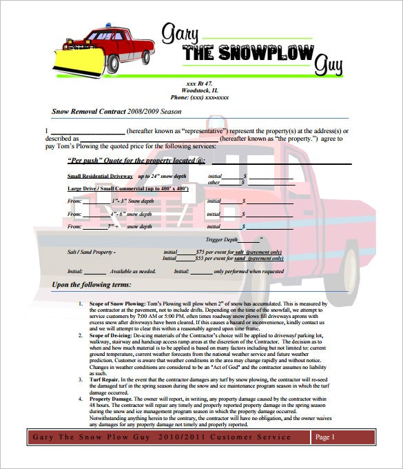 20 Snow Plowing Contract Templates Google Docs Pdf Word Apple