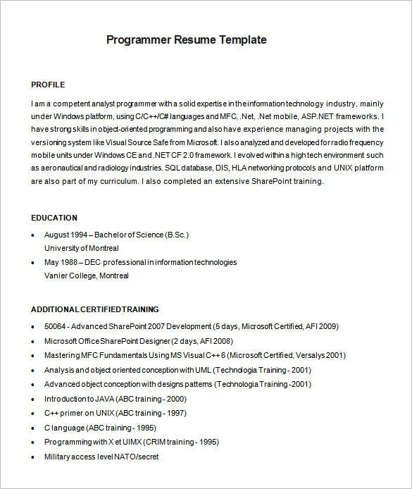 Resume Resume Example Junior Programmer programmer resume template 8 free samples examples format example software download