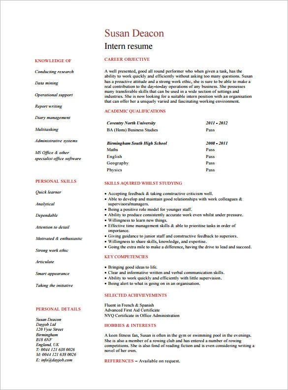 resume sample for internship students