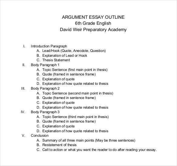 example of a argument essay outline