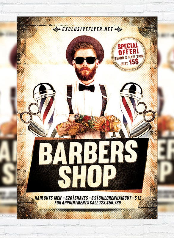 exclusive barber shop flyer template