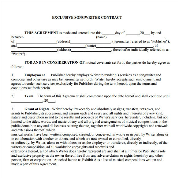exclusive music contract template pdf download