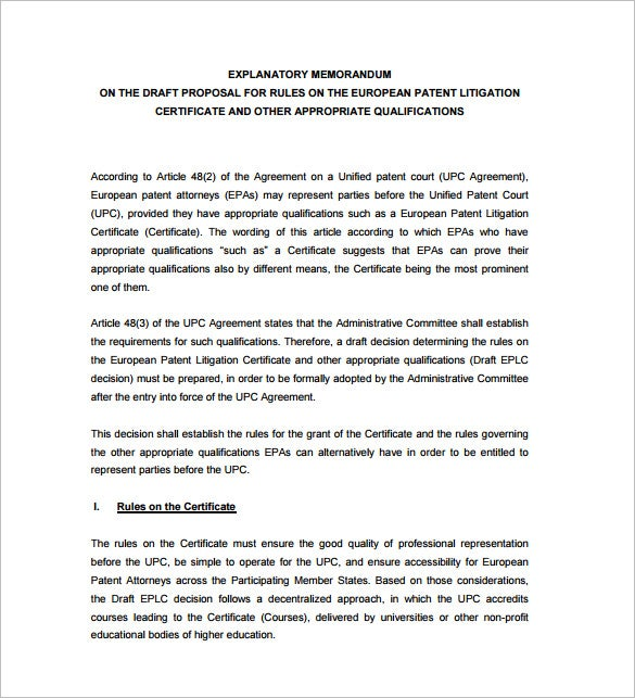 explanatory memorandum template pdf download