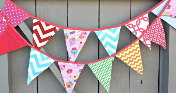 fabric pennant banner template premium download