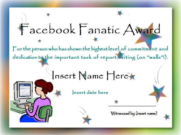 Facebook Fanatic Award Funny Certificate Template  Fun Voucher Template
