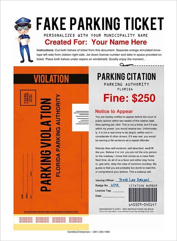 parking ticket template pdf