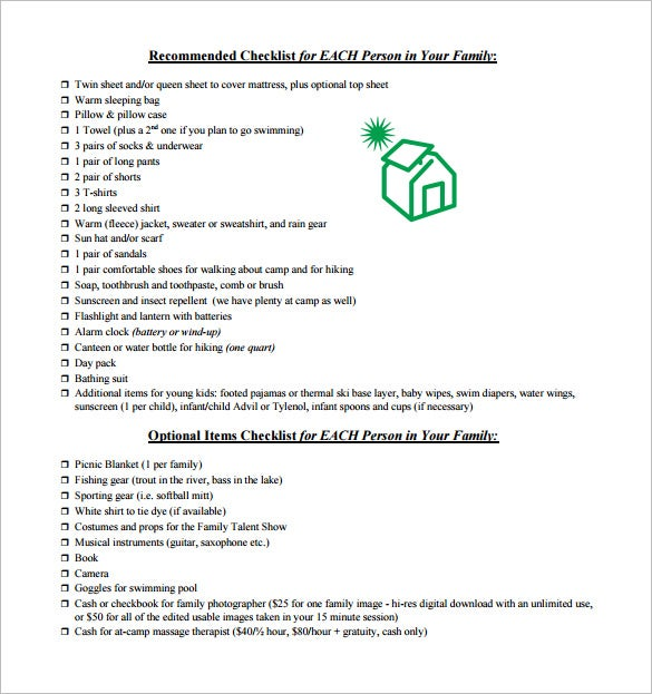 family camping packing checklist pdf download