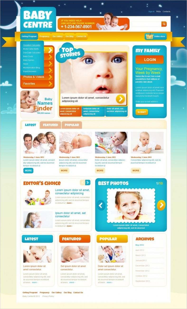 family center joomla template 788x1298