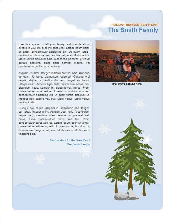 family holiday newsletter template - Free Publisher Newsletter Templates