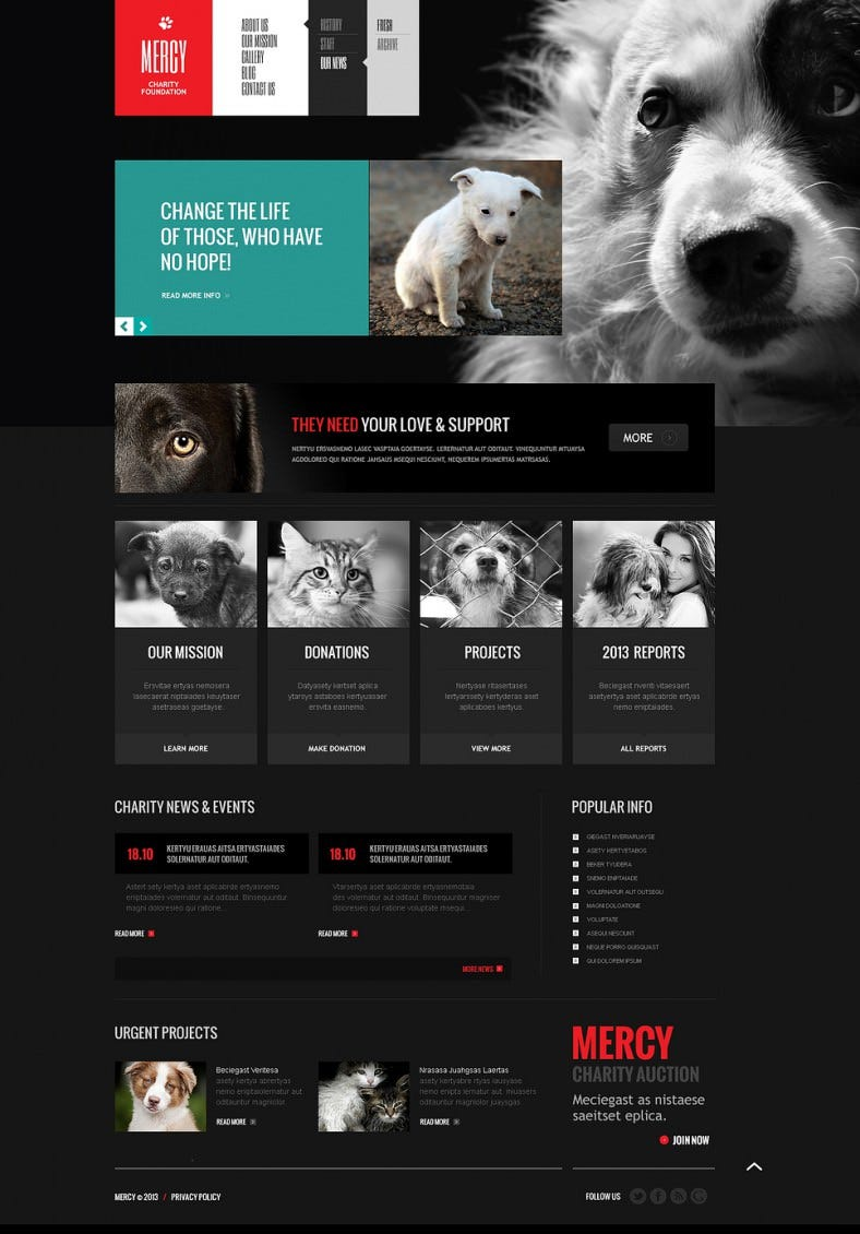 Fancy Design Responsive Joomla Theme for Animal Shelter