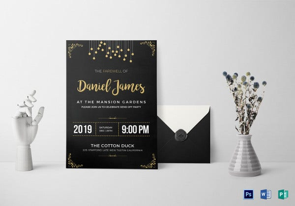 farewell invitation card psd template