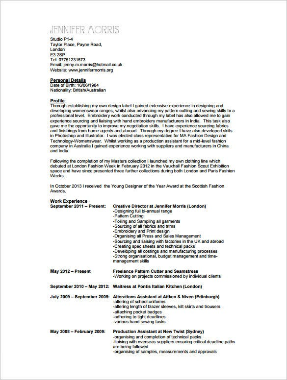sample fashion design cv pdf format. Resume Example. Resume CV Cover Letter