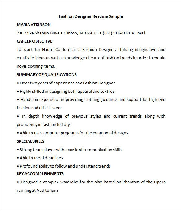 fashion designer resume sample free download - Fashion Designer Sample Resume