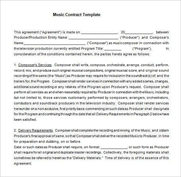 Film Music Contract Tenplate Word Free Download  Investor Contract Template Free