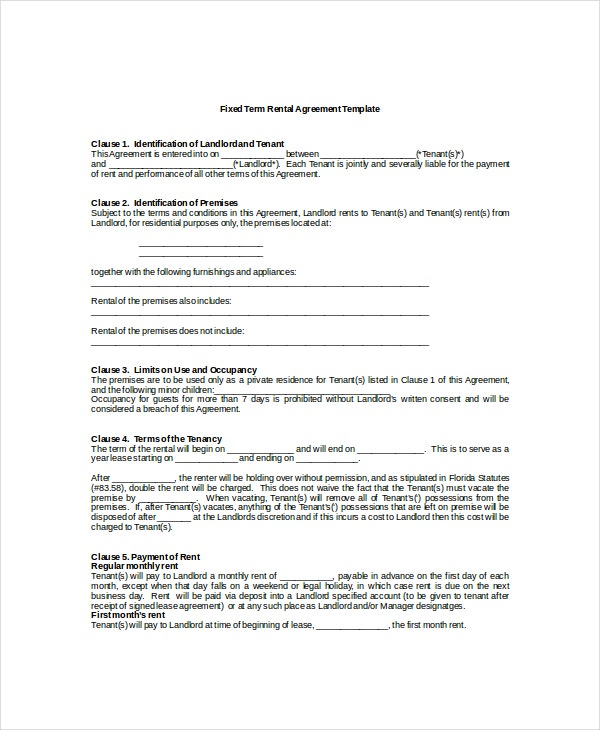 13 Rental Agreement Templates Free Sample Example